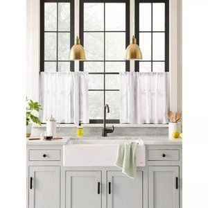 Tier panel window curtains white 42″ W x 24″L cafe